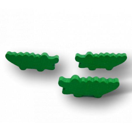 Pion crocodile vert en bois