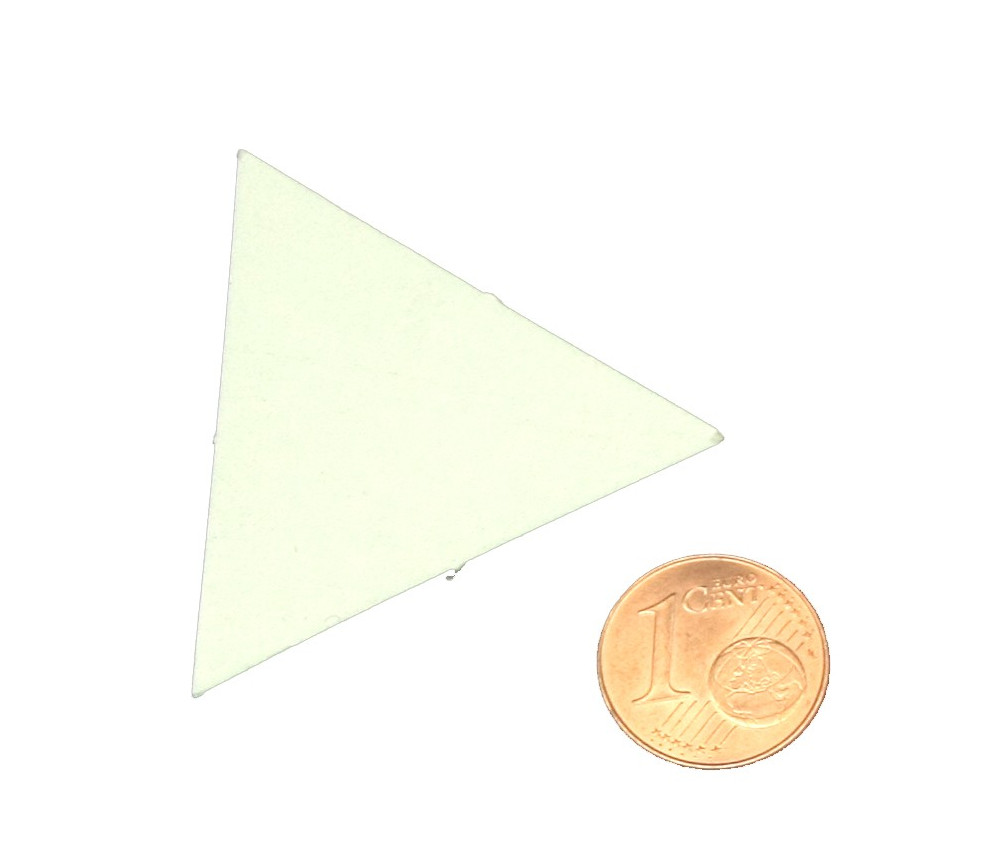 Tuile triangle jetons épais blanc 40 mm vierge à personnaliser