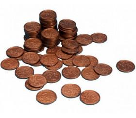 100 Pièces de 5 centimes d'euro en plastique monnaie factice jeu