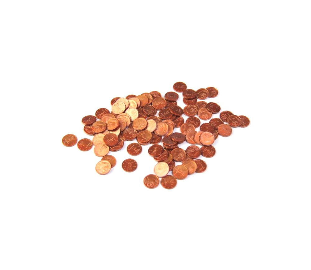 100 Pièces de 1 centime d'euro en plastique monnaie factice jeu