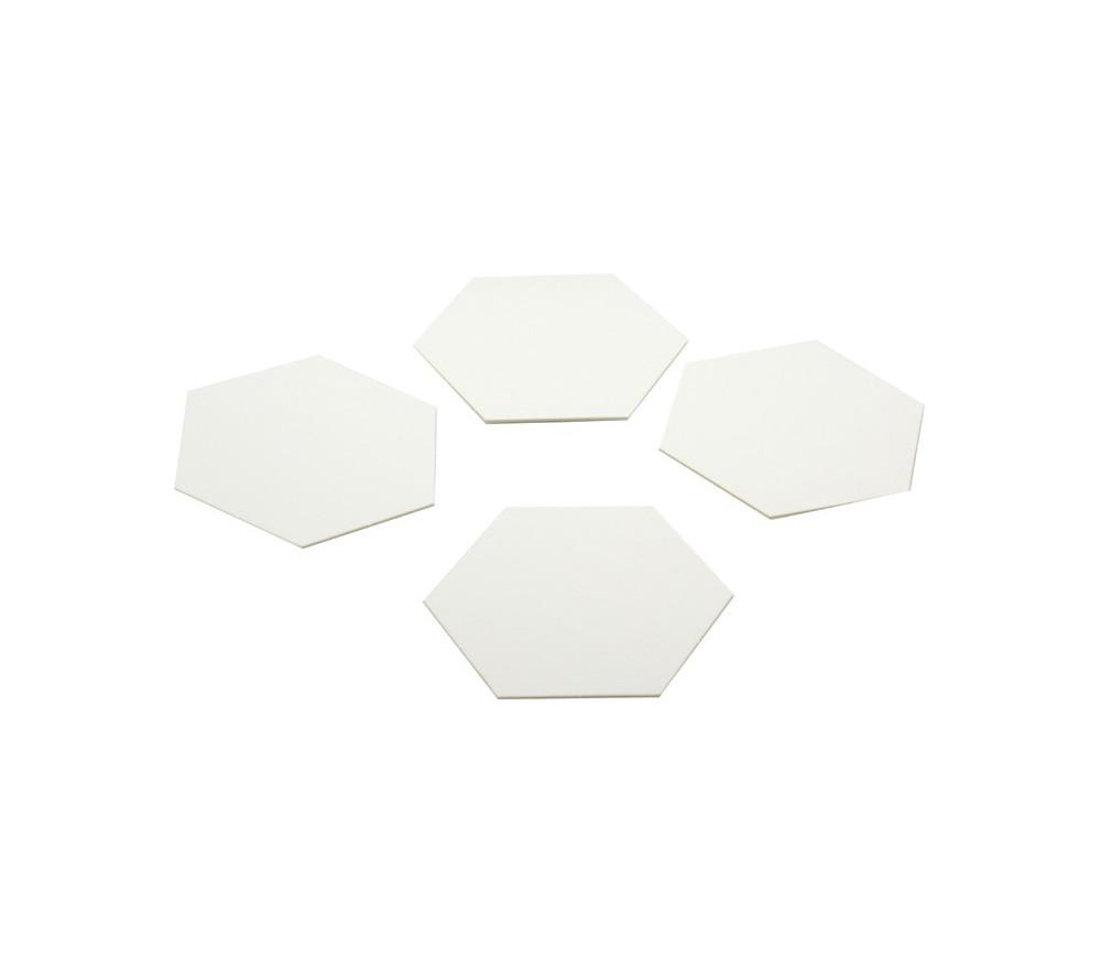 4 Tuiles hexagones jetons épais blancs 100 mm vierge à personnaliser