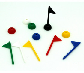 6 Pions drapeaux de jeu - minis fanions en 6 couleurs