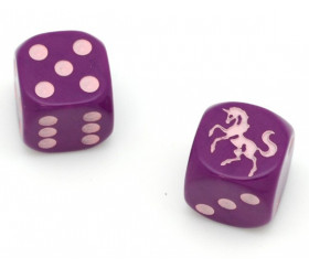 Dé licorne violet 23456 taille 16 mm