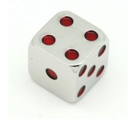 Dé en métal lourd argenté points rouge 15 mm