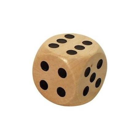 Dé en bois 25 mm de 1 à 6 pour jeu de société