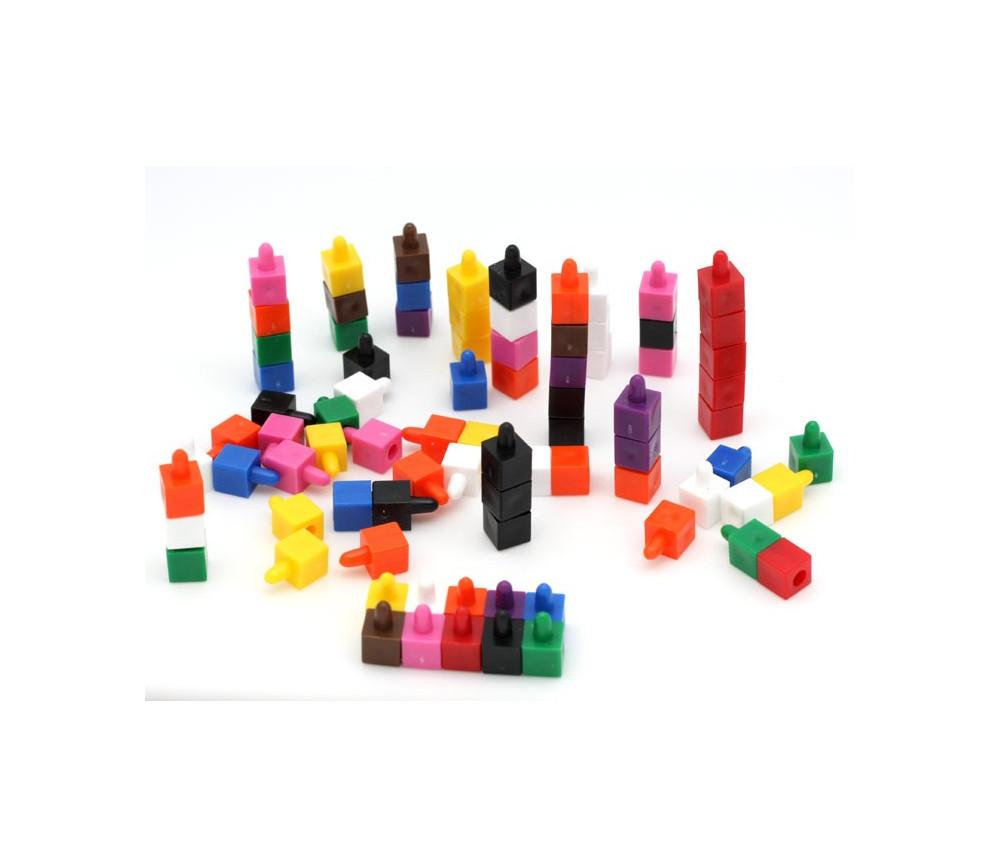 100 petits cubes encastrables 8 x 8 x 15 mm pour jeux couleurs