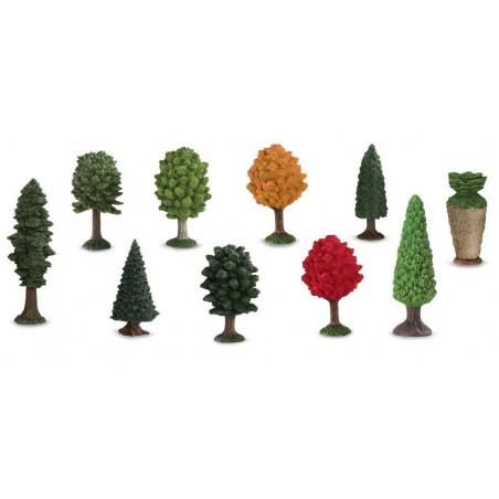 10 arbres figurines jouet d'environ 5 cm