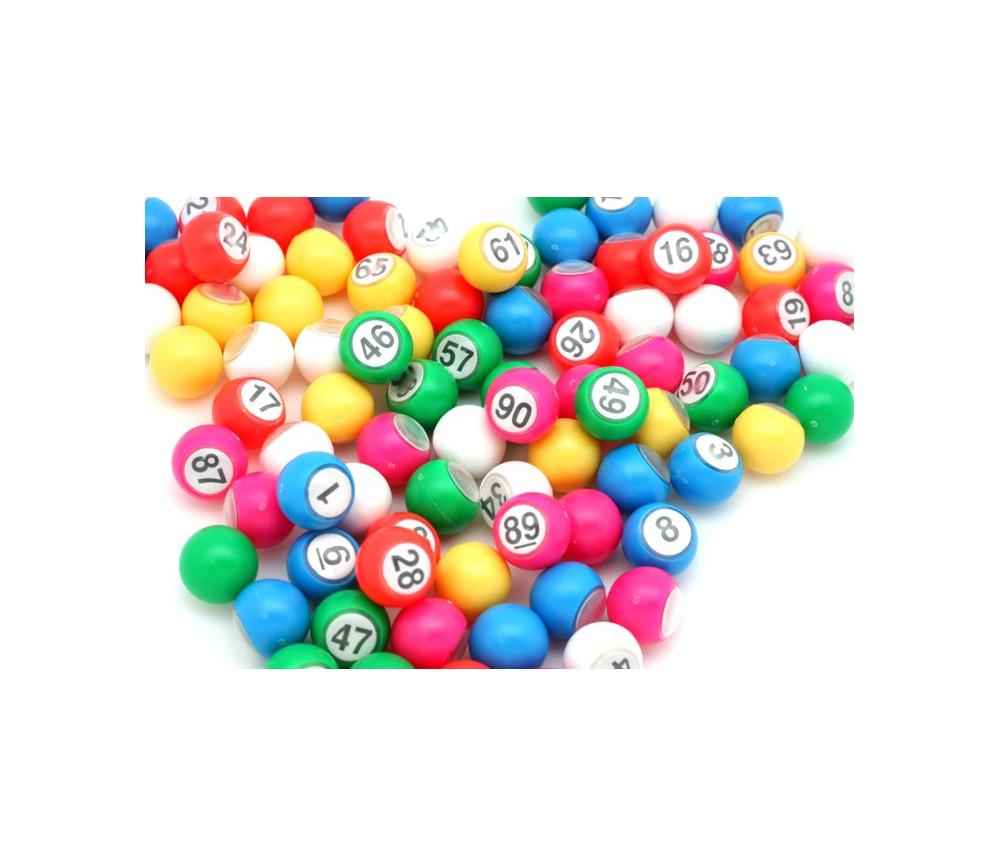90 boules loto 18 mm de diamètre numérotées en plastique coloré