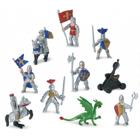 Chevaliers et dragon : 10 figurines de jeu