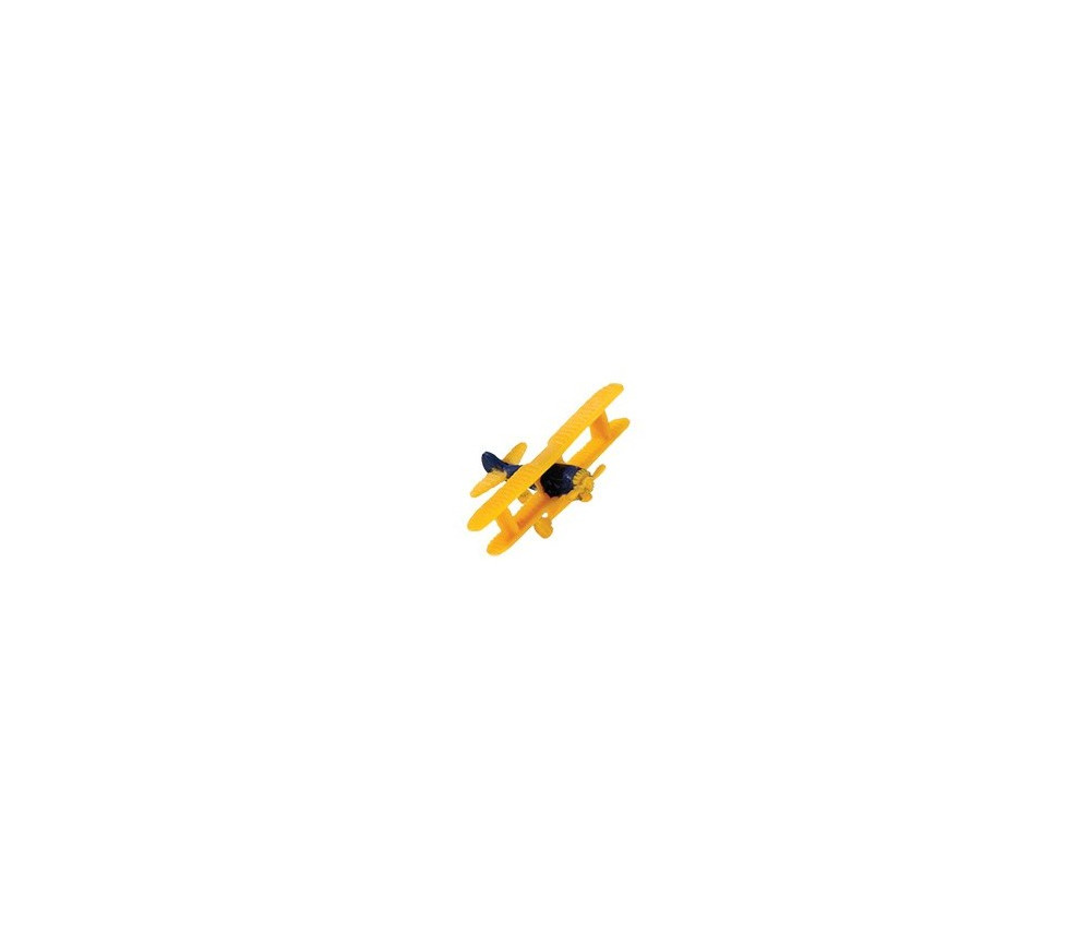 Figurine mini mini avion biplan jaune environ 2.5 cm