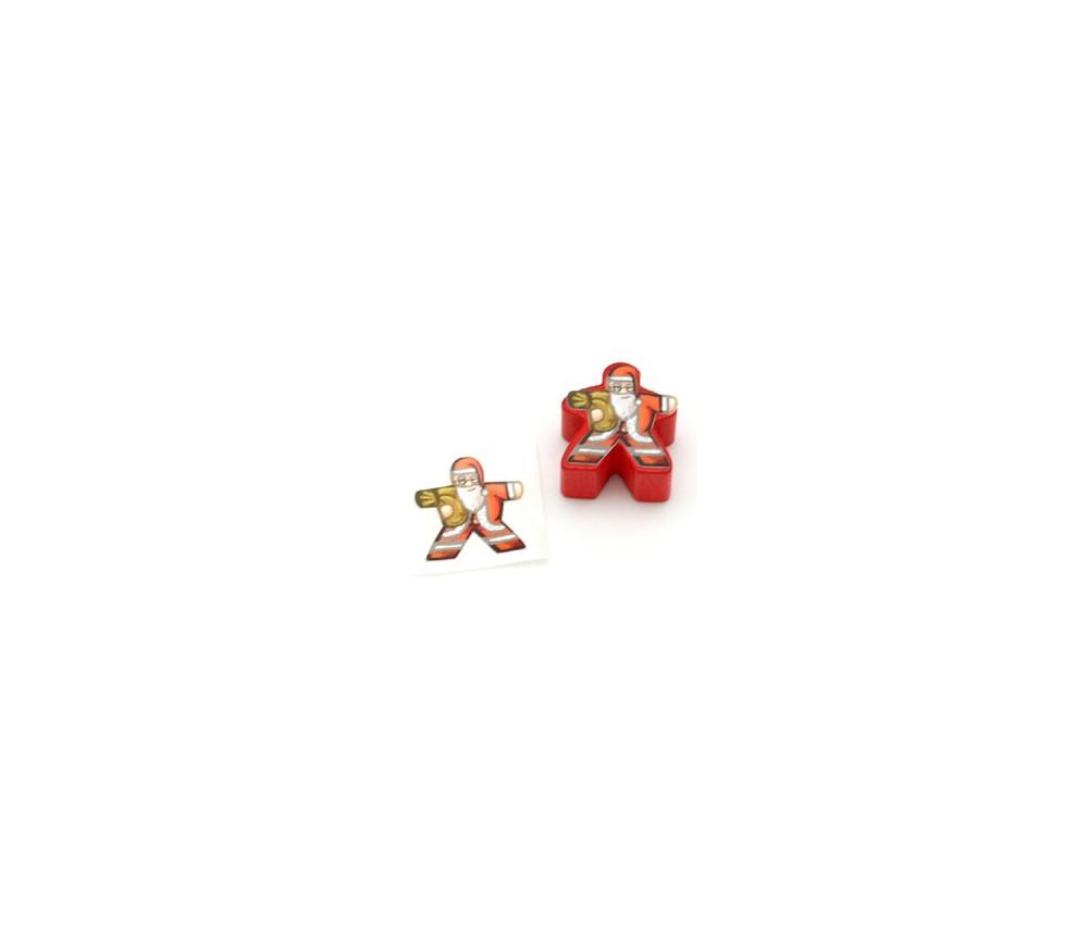 Etiquette autocollante Père Noël pour personnalisation meeple