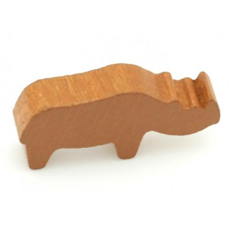 Pion rhinocéros marron clair en bois pour jeu