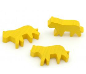 Pion tigre jaune en bois pour jeu