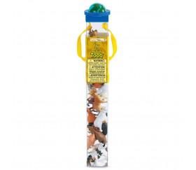 12 Animaux en plastique FERME dans un tube de rangement 6 cm