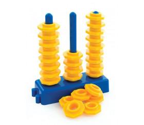Socle 3 tiges - Abaque de tri enchaînable + 27 jetons jaunes