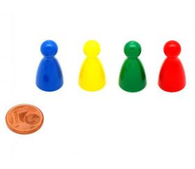 Set de 4 pions en plastique pour jeux 24x12 mm quille