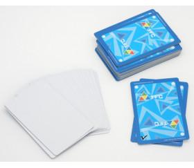54 cartes à jouer effaçable verso bleu - recto blanc plastique