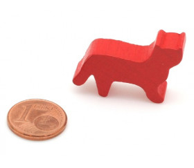 Pion Chat rouge en bois pour jeu 30x19x8 mm