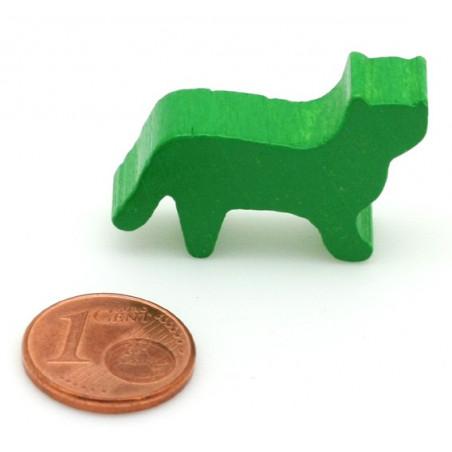 Pion Chat vert en bois pour jeu 30x19x8 mm