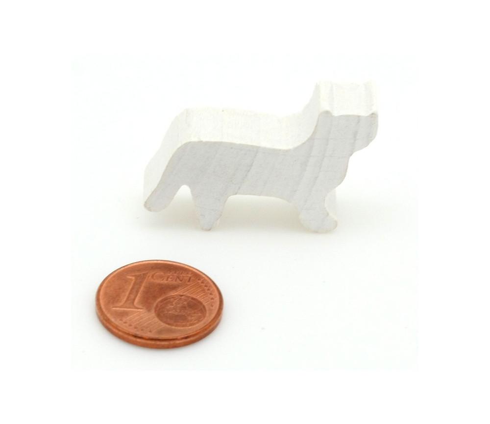 Pion Chat blanc en bois pour jeu 30x19x8 mm
