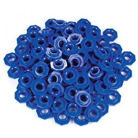 100 jetons bleus troués octogonaux pour abaque
