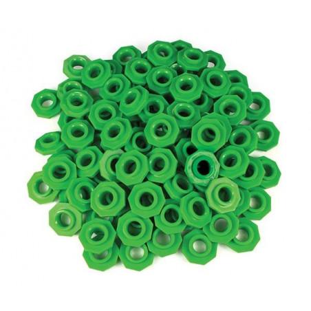 100 jetons verts troués octogonaux pour abaque 2.5 cm