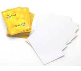 54 cartes à jouer effaçable verso jaune - recto blanc plastique