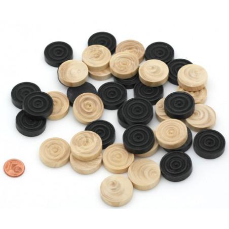 40 Pions bois dames noir naturel 24 x 6 mm moulurés