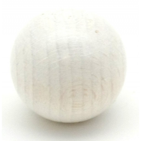 Boule 25 mm blanche en bois hêtre