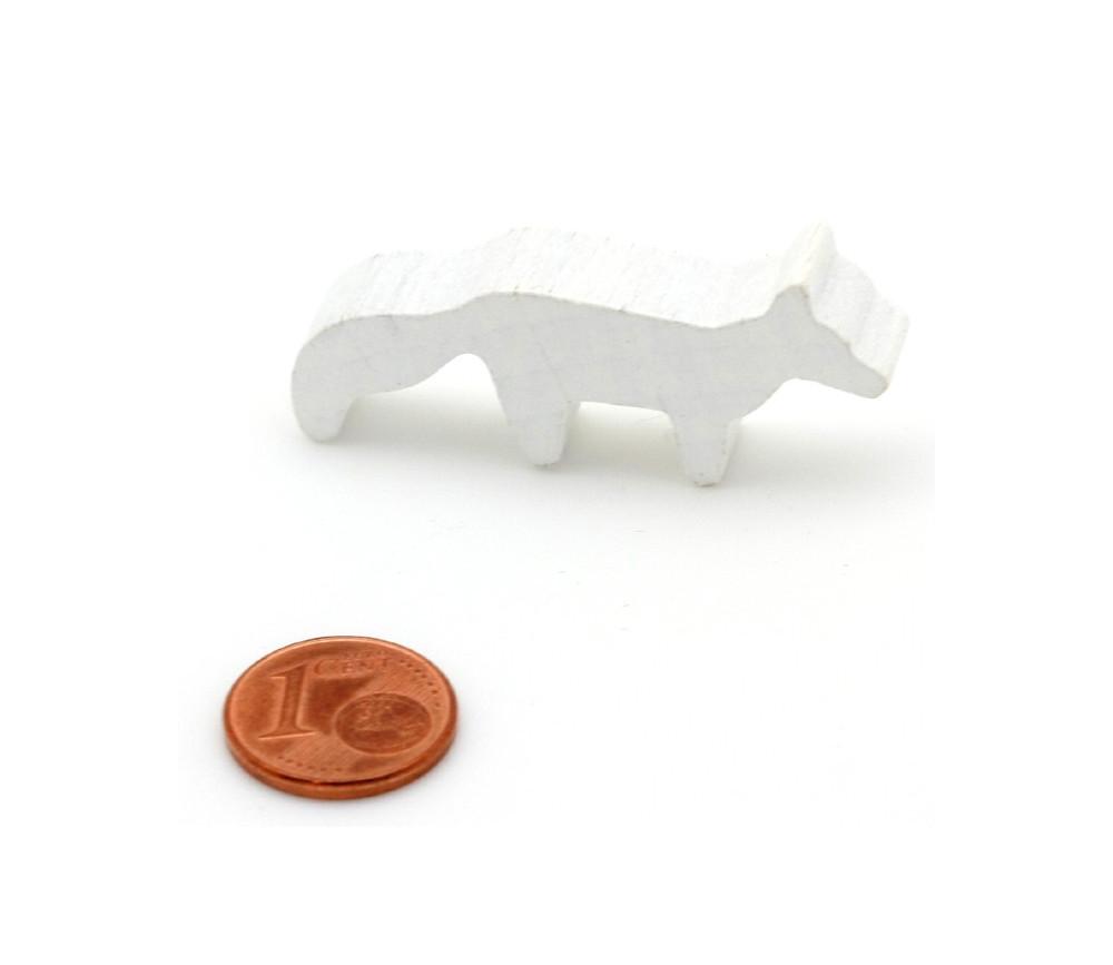 Pion renard polaire blanc en bois 45 x 20 x 8 mm