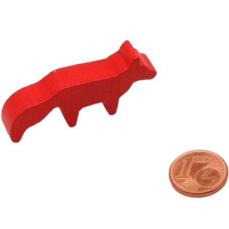 Pion renard rouge en bois