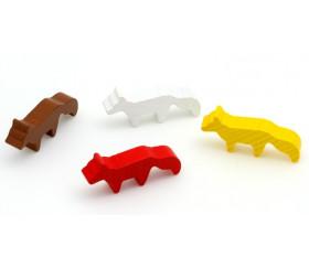 4 Pions renards en bois 45 x 20 x 8 mm