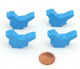 Pion poule  bleu clair en bois 30x 19 x 8 mm