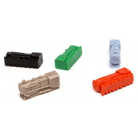 5 trains locomotives pions plastiques de 30x12x10 mm