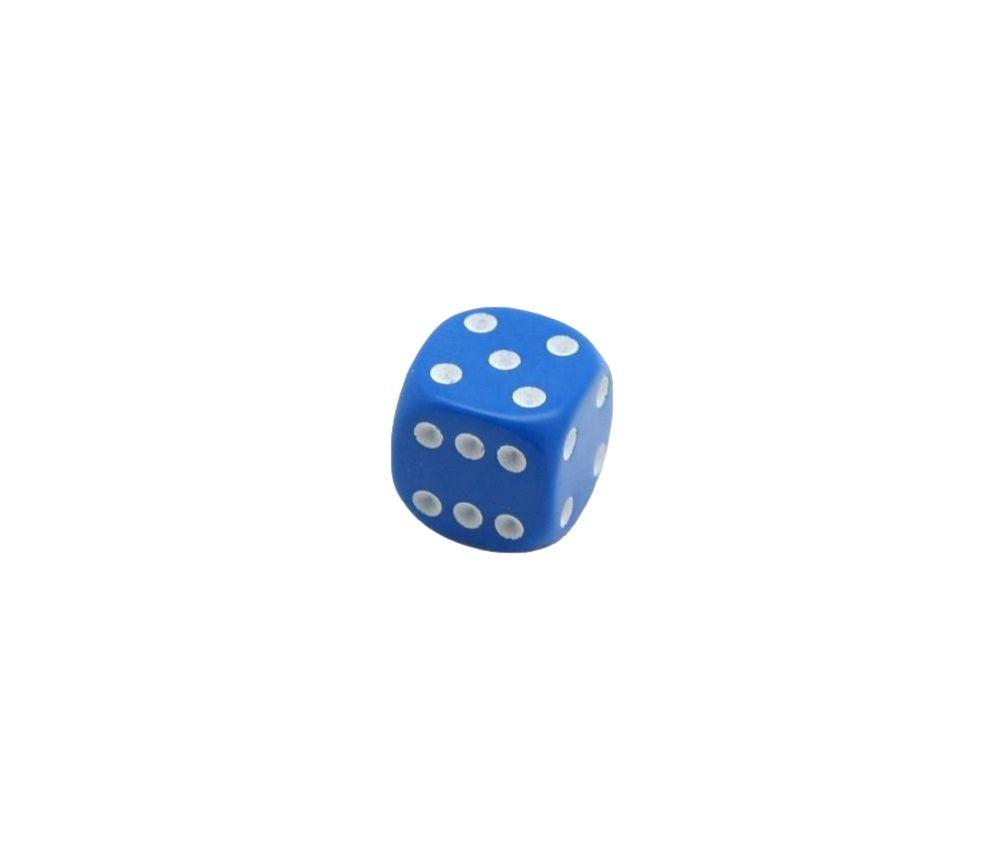 Dé jeu bleu 14 mm points 1 à 6