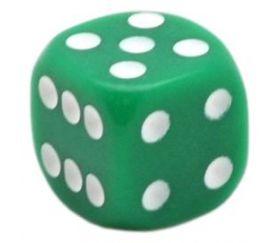 Dé jeu vert 14 mm de 1 à 6 pour jeu de société