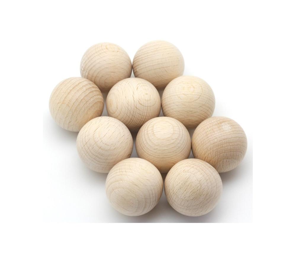 Lot de 10 balles en bois naturel de cochonnet pour la pétanque