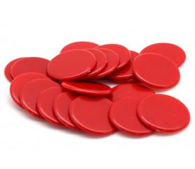 Jetons rouges ronds diamètre 3 cm en plastique plat