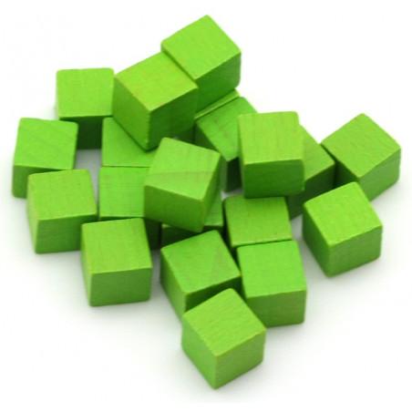 Cubes en bois 1 cm. 10 x 10 x 10 mm vert clair