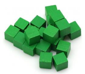 Cubes en bois 1 cm. 10 x 10 x 10 mm  vert
