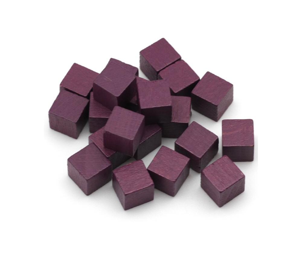 Cubes en bois 1 cm. 10 x 10 x 10 mm violet