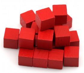 Cubes en bois 1 cm. 10 x 10 x 10 mm rouge