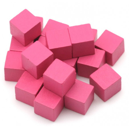 Cubes en bois 1 cm. 10 x 10 x 10 mm rose
