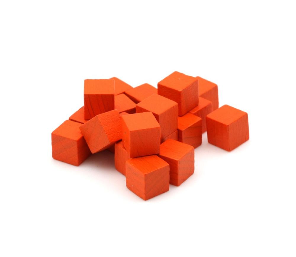 Cubes en bois 1 cm. 10 x 10 x 10 mm orange