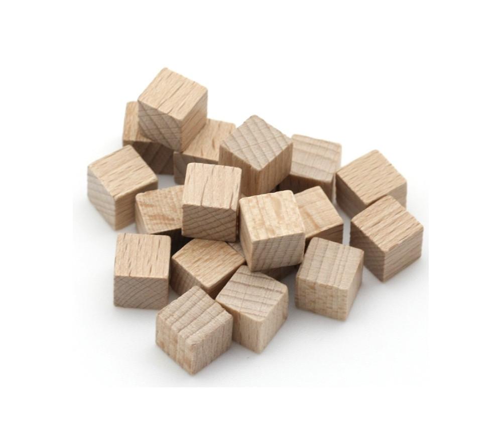 Cubes en bois 1 cm. 10 x 10 x 10 mm naturel
