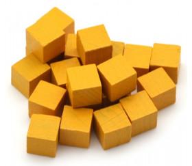 Cubes en bois 1 cm. 10 x 10 x 10 mm jaune or
