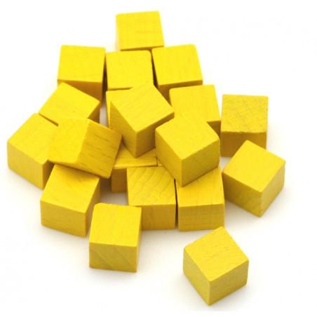 Cubes en bois 1 cm. 10 x 10 x 10 mm jaune citron
