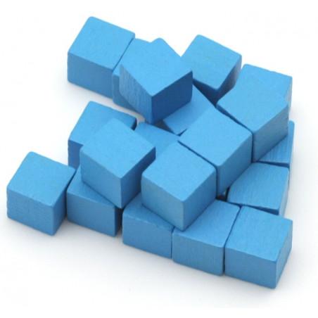Cubes en bois 1 cm. 10 x 10 x 10 mm bleu clair