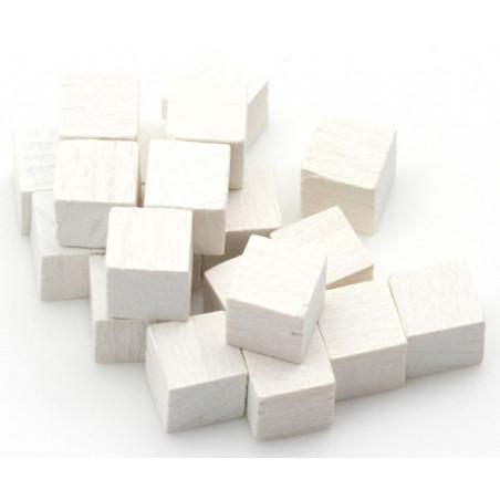 Cubes en bois 1 cm. 10 x 10 x 10 mm blanc