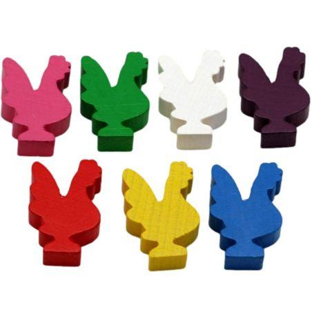 7 Pions coqs en bois 20 x 29 x 8 mm - 7 couleurs